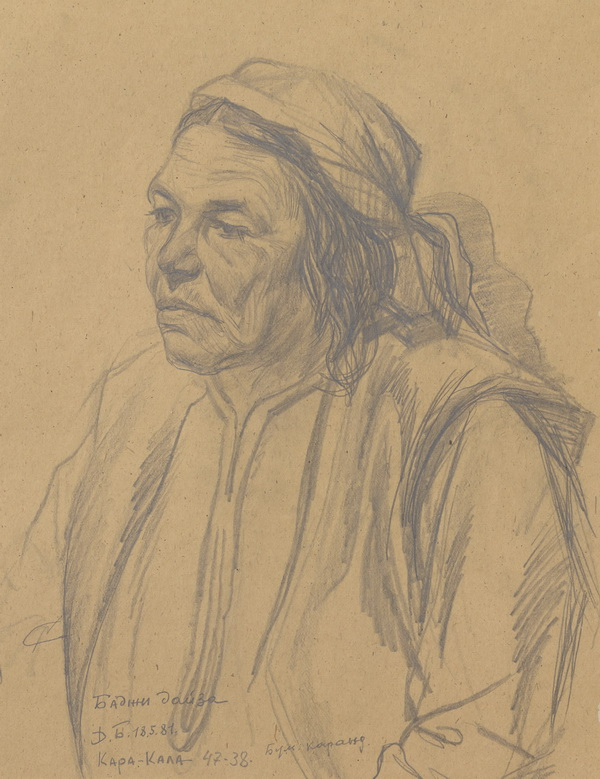 Medium: Pencil on paper, Size: 18.5x14.9 in , Year of Creation: 1981 (18.5.81), Place of Origin: Kara–Kala, Turkmenistan